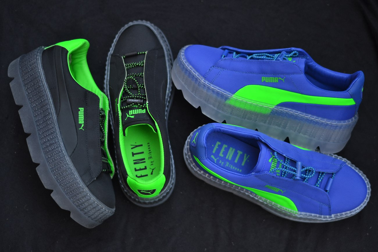 blue and green puma creepers