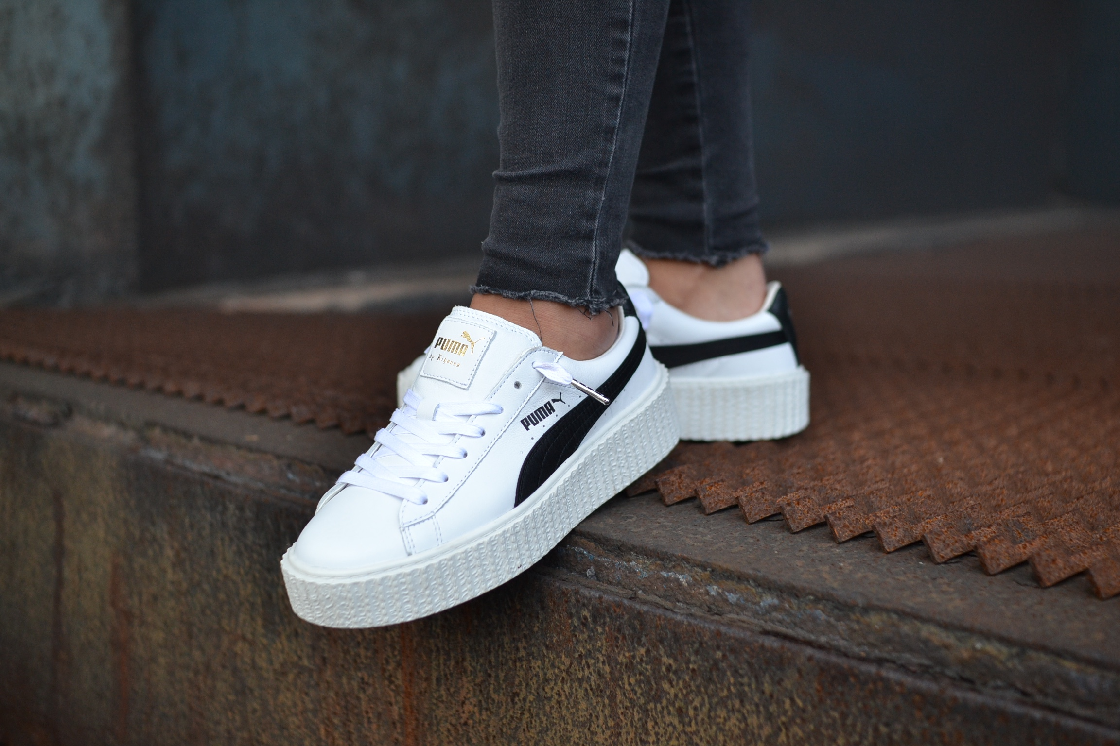 puma creepers blanche vernis